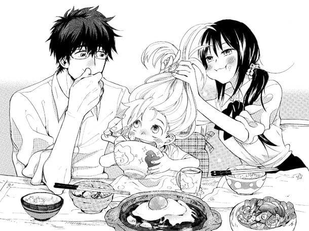 楽しそうに食べるシーンがまるで家族のよう。出典『甘々と稲妻』