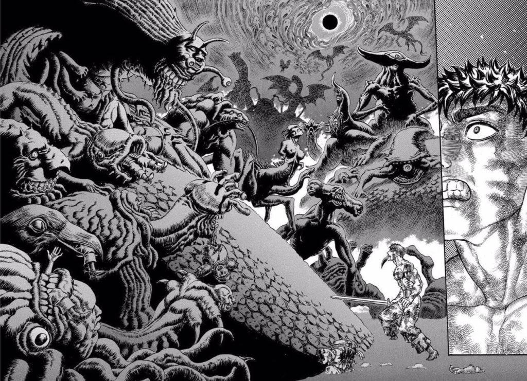絵のタッチや世界観がまさにダークファンタジー。出典:三浦建太郎『ベルセルク』