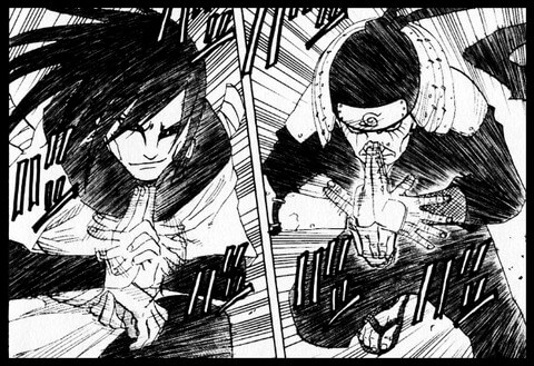 忍術を使うための印を結ぶシーン。出典:岸本斉史『NARUTO』